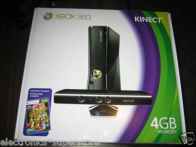MICROSOFT XBOX 360 4GB GAME SLIM SYSTEM CONSOLE + KINECT SENSOR + ADVENTURE GAME on Rummage