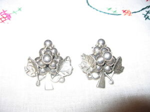 STERLING 925 CLIP ON EARRINGS- GRAPES .