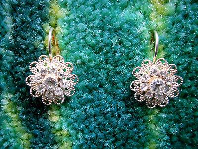 Eisenberg Ice Silver Crystal Flower Earrings