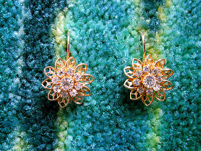 Eisenberg Ice Gold Crystal Flower Earrings
