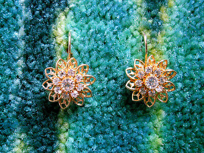 Eisenberg Ice Gold Crystal Flower Earrings