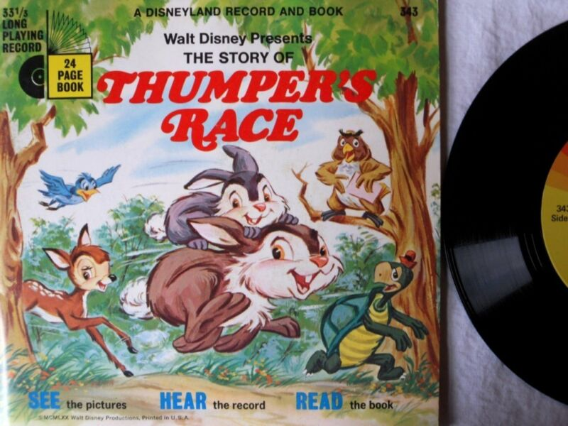 THUMPER'S RACE Bambi 343 Disney Read Along Book & Record Set VG+