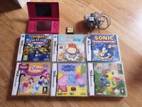Nintendo Pink DS Lite + 7 games inc. Sonic Classic Collection
