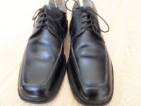BARKER SAVILE ROW GENUINE BLACK ALL LEATHER LACE UP DRESSY SMART MENS/BOYS SCHOOL SHOES SIZE 7/7.5