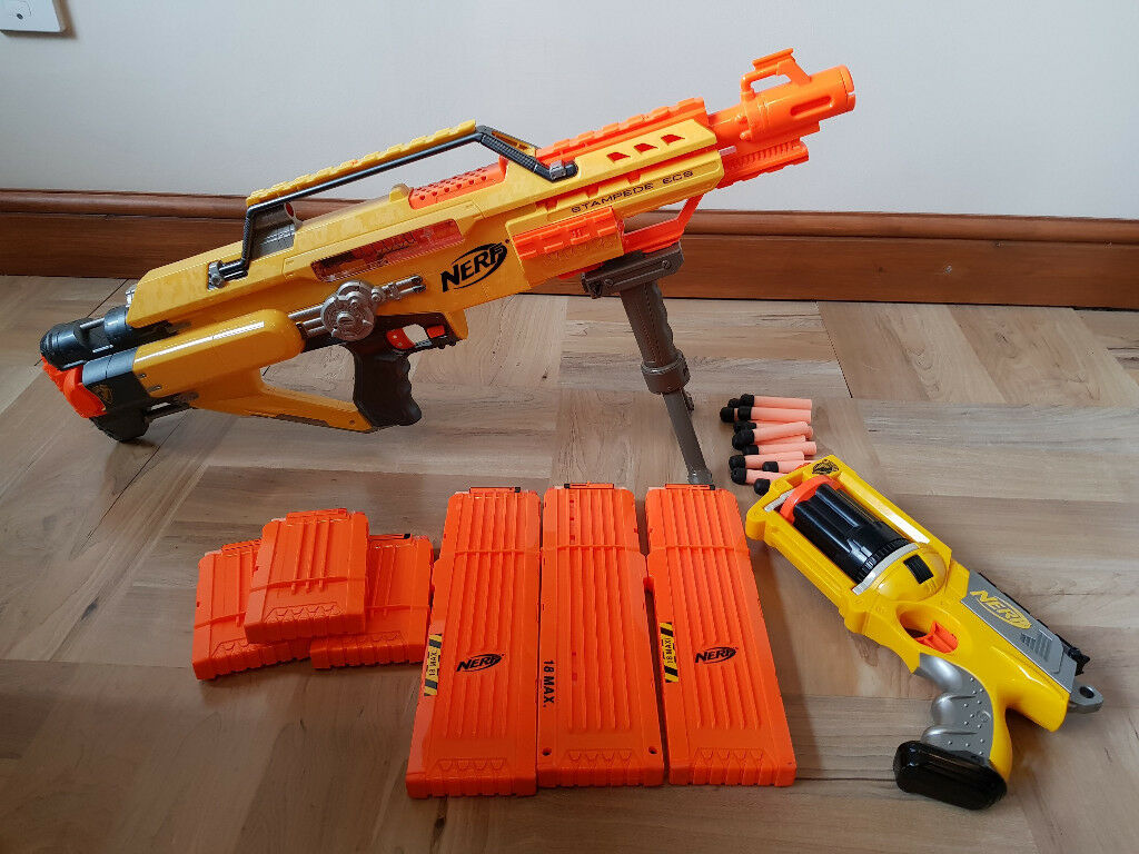 Battery Powered Nerf Stampede Ecs And Hand Revolver In
