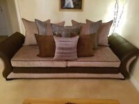 Perfect condition brown and mink 4 seater sofa + snuggle chair with sound system