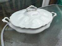 Shabby chic style ceramic serving dish lidded