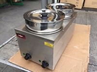 CATERING COMMERCIAL NEW SLIM 2 POT WET BAIN MARIE FAST FOOD CAFE KEBAB RESTAURANT KITCHEN BBQ SHOP