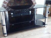 Large Black Glass / chrome TV Stand