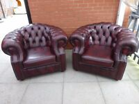 A Pair Of Oxblood Red Leather Chesterfield Club/Armchairs