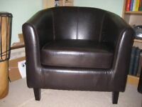 Pair of Art Deco Style Leather Armchairs (New)