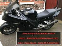 HONDA SUPER BLACKBIRD 1100 XX - VERY LOW MILEAGE, MANY EXTRAS, PERFECT CONDITION, 1 PREVIOUS OWNER