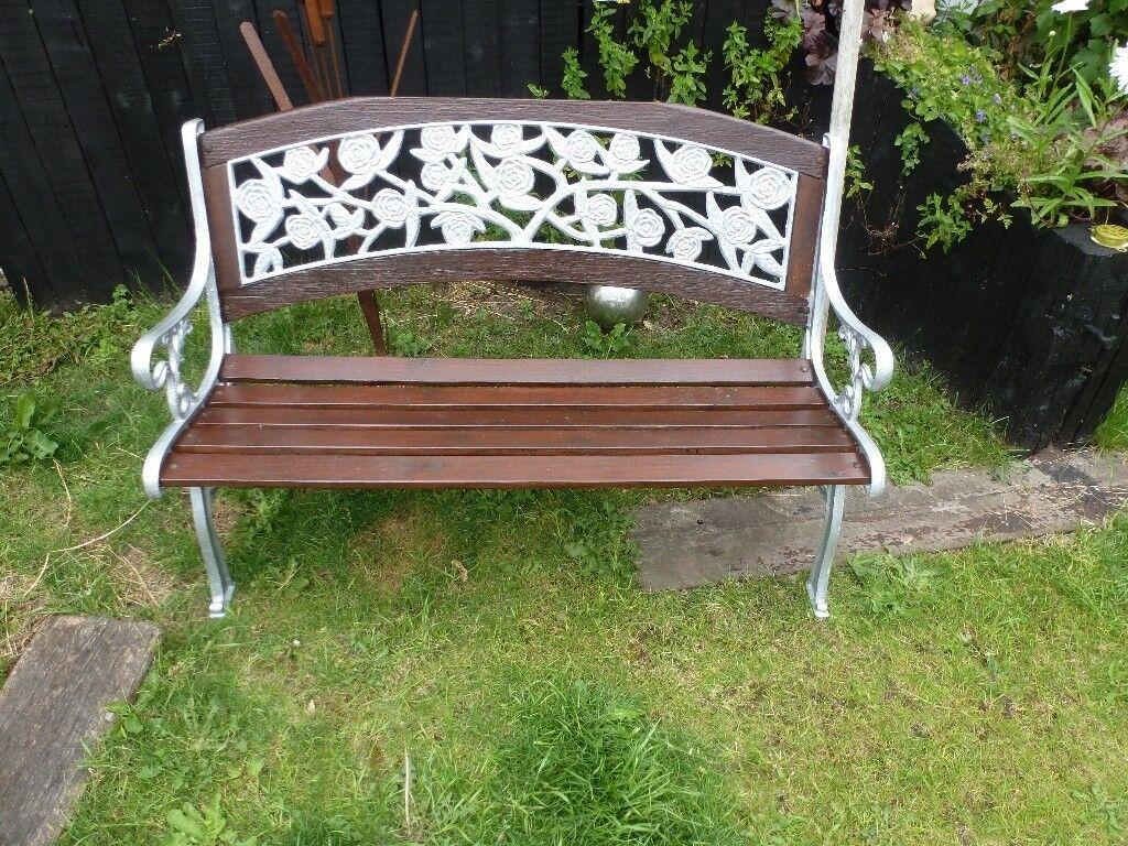 Decorative Garden Bench Newly Refurbished Hardwood Cast