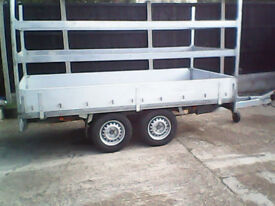 Twin axle plant trailer flatbed 10 x 5 *GALVANISED* dropsides, tree surgeon, landscaper