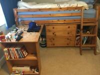 Cabin bed, desk and drawers