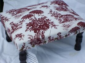Small Toile de Jouy Footstool – NEW!