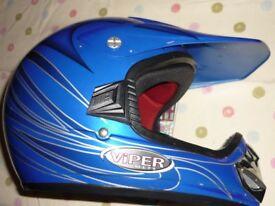 Blue full face Moto X helmet - (child size)