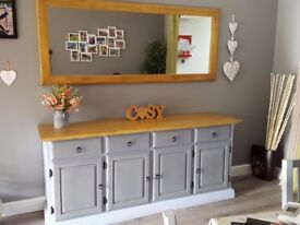 Solid Oak Rustic Sideboard (with mirror)