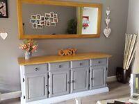 Solid Oak Rustic Sideboard (with mirror)