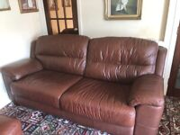 Leather sofa and armchair brown