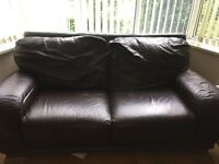 Free Brown leather 2 seater and 3 seater sofa