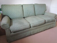 3 Seater sofa in green material recovered 3 years ago very good condition