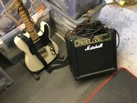 2 guitars and accessories