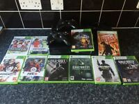 XBOX 360 250GB, 2 wireless controllers and 10 games.