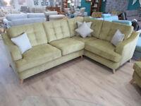 Brand New Ex display Elegant mustard 2c1 fabric corner sofa with matching armchair