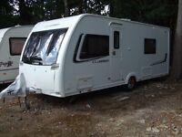 Lunar Clubman SB 2013 4 berth caravan. 2 single fixed beds.