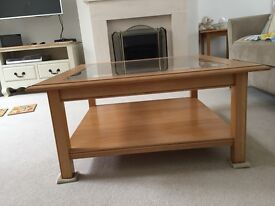 Marks and Spencer light oak coffee table, 85cm square and 41 cm high.