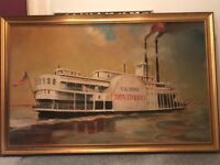 Large New Orleans steamboat painting