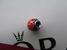 Genuine Sterling Silver Pandora Red Hot Hearts Charm