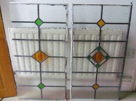 Lead stained glass window panes X2 (W44cm X H83cm)