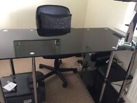 Black glass and silver office desk