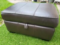 Dark Brown leather footstool with storage.