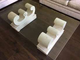 Glass coffee table and 2 matching glass side tables