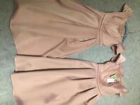2 mink coloured bridesmaid dresses size 10 & 12