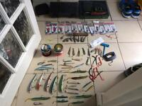 Job Lot Sea Fishing lures tackle line rigs feathers weights storage etc
