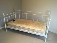 Ikea metal single bed and mattress wooden sprung slats