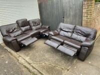 Brown leather recliner 3&2 seater sofas
