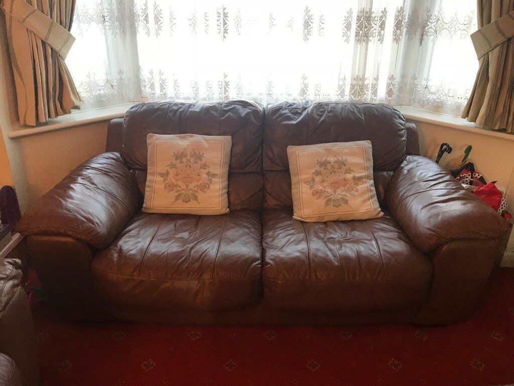 Dark Brown 4 Piece Leather Sofa Set Preloved