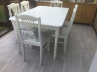 White Table & Matching 6 Chairs