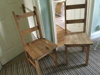 Vintage Retro Two Wooden Kitchen Chairs