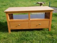 Stylish light wood low level dresser with two drawers