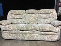 Sofa - 3 Seater floral design, fabric, good condition