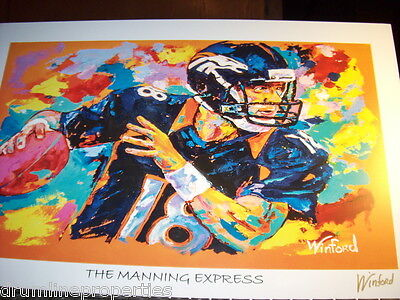 PEYTON MANNING BRONCOS WINFORD SIGNED NUMBERED LITHOGRAPH 11 X 17 #84 OF 99