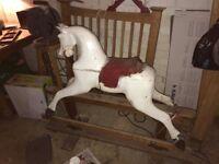 Antique Wooden Rocking Horse Wooden Vintage