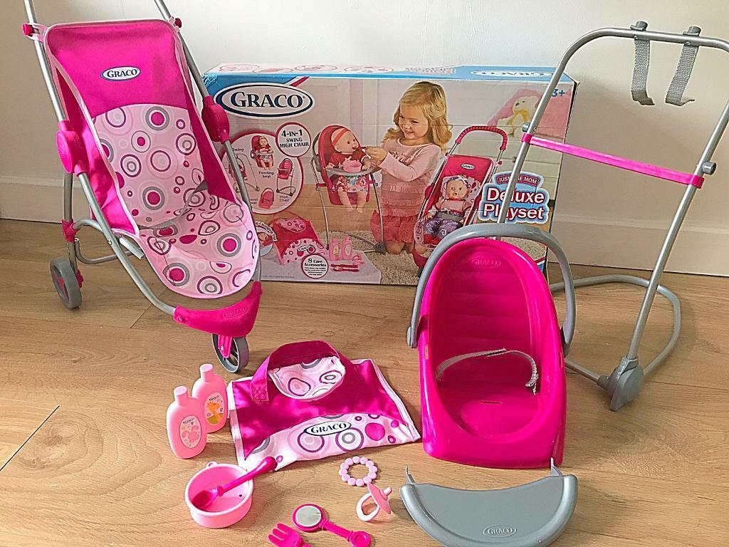 Graco Deluxe Playset Dolls Pushchair High Hair Car Seat Accessories Boxed
