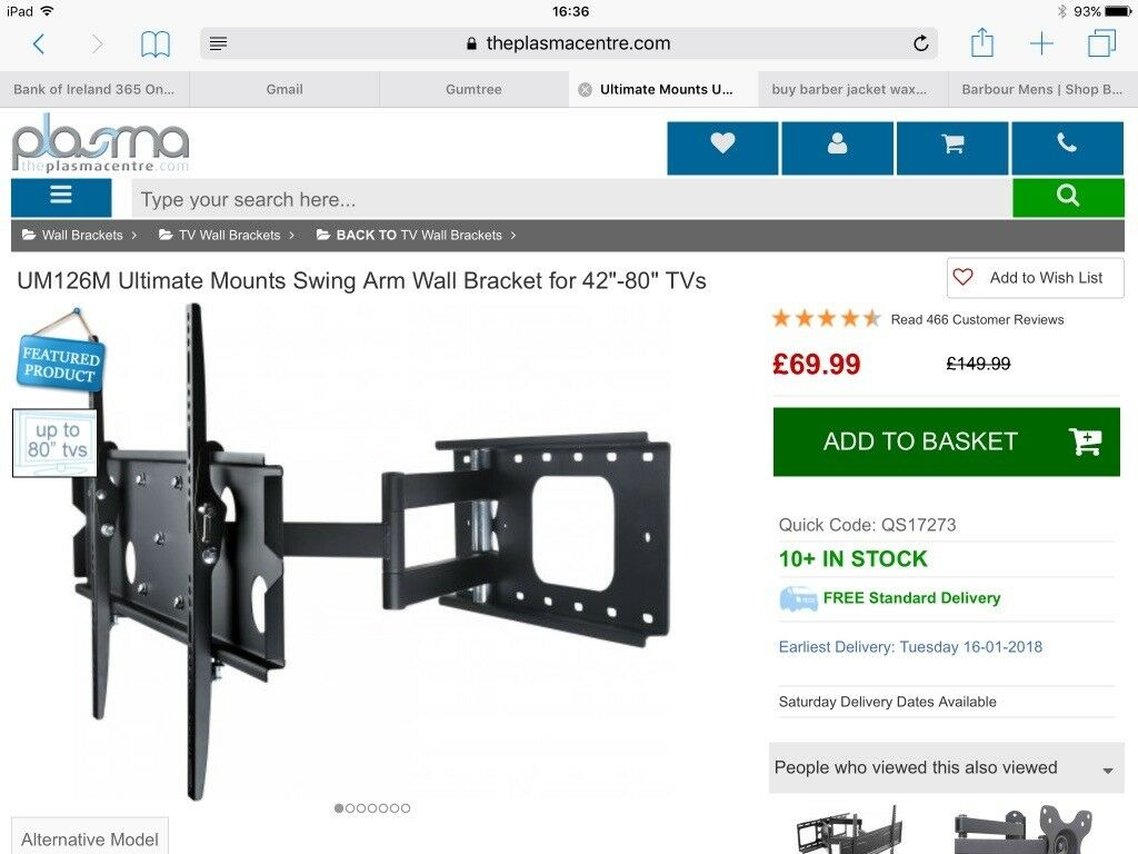 "Swing arm TV wall bracket for 42-80"" TV- 2 available - can purchase separately"